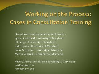 Working on the Process: Cases in Consultation Training
