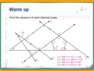 Find the measure of  each lettered  angle.