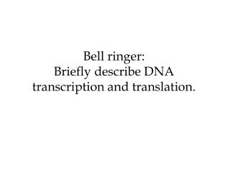 Bell ringer: Briefly describe DNA transcription and translation.