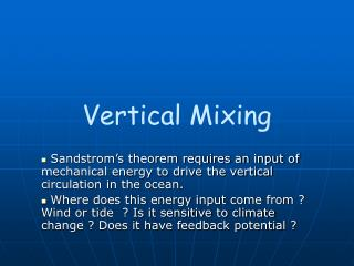 Vertical Mixing