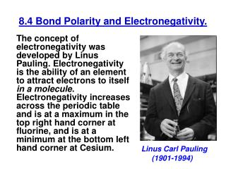 8.4 Bond Polarity and Electronegativity.