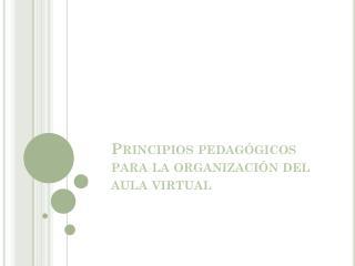 Principios pedagógicos para la organización del aula virtual