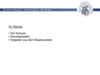 Seminar Verbessern statt Korrigieren (WS 08/09)