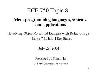 ECE 750 Topic 8