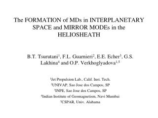 The FORMATION of MDs in INTERPLANETARY SPACE and MIRROR MODEs in the HELIOSHEATH