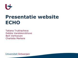 Presentatie website ECHO