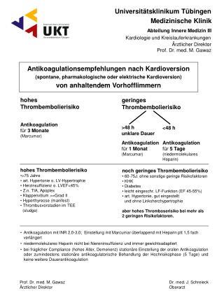 Antikoagulationsempfehlungen nach Kardioversion
