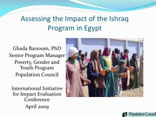 Assessing the Impact of the Ishraq Program in Egypt