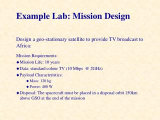 Example Lab: Mission Design