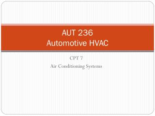 AUT 236 Automotive HVAC