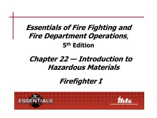 Essentials of Fire Fighting and Fire Department Operations,  5th Edition