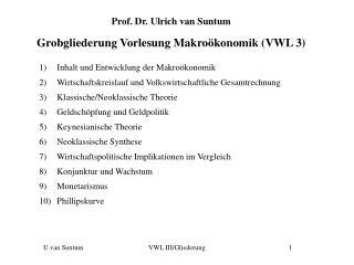 Prof. Dr. Ulrich van Suntum Grobgliederung Vorlesung Makroökonomik (VWL 3)