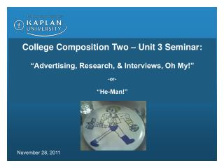 """College Composition Two – Unit 3 Seminar: """"Advertising, Research, & Interviews, Oh My!"""" -or-"""