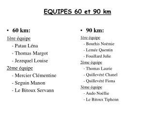 EQUIPES 60 et 90 km