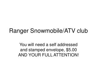 Ranger Snowmobile/ATV club
