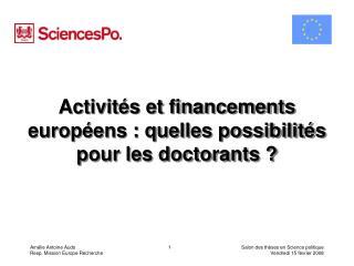 Activités et financements européens : quelles possibilités pour les doctorants ?