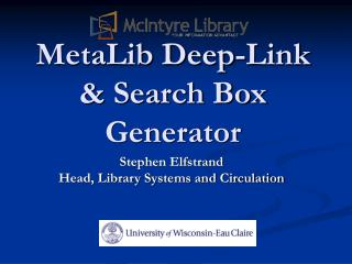 MetaLib Deep-Link  & Search Box Generator