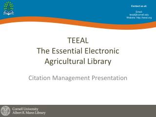 TEEAL The Essential Electronic  Agricultural Library