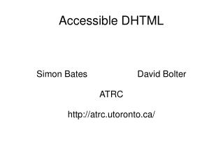 Accessible DHTML