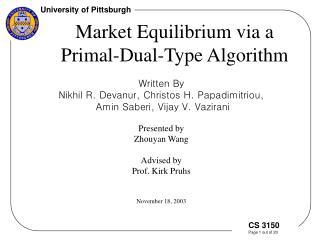 Market Equilibrium via a Primal-Dual-Type Algorithm