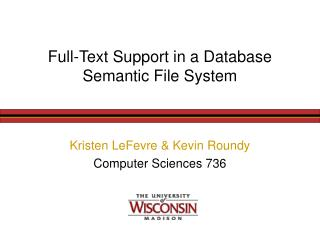 Full-Text Support in a Database Semantic File System