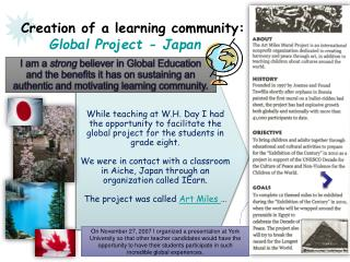 Creation of a learning community: Global Project - Japan