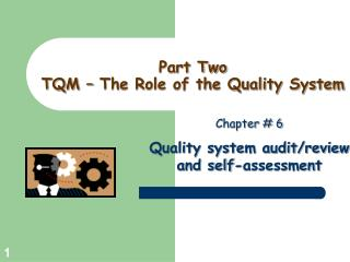 Part Two TQM – The Role of the Quality System