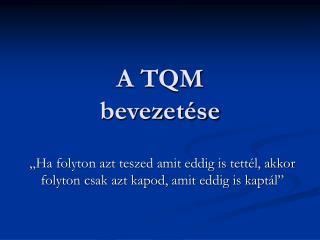 A TQM bevezetése