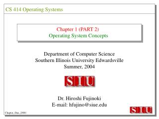 Chapter 1 (PART 2) Operating System Concepts