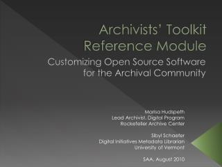 Archivists' Toolkit Reference Module