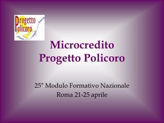 Microcredito  Progetto Policoro