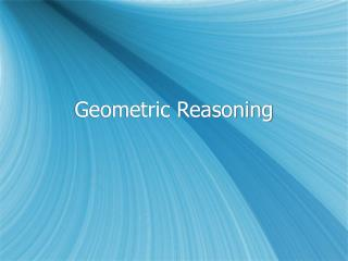 Geometric Reasoning
