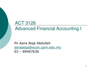 ACT 3126 Advanced Financial Accounting I