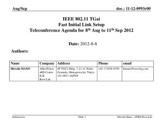 IEEE 802.11 TGai Fast Initial Link Setup  Teleconference Agenda for 8 th  Aug to 11 th  Sep 2012