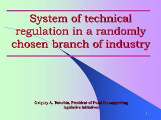 System of technical regulation in a randomly chosen branch of ...
