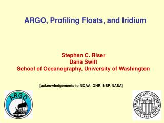 ARGO, Profiling Floats, and Iridium
