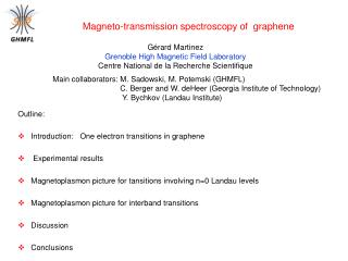 Outline: Introduction:   One electron transitions in graphene   Experimental results