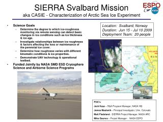 SIERRA Svalbard Mission aka  CASIE - Characterization of Arctic Sea Ice Experiment