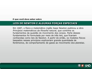 LEIS DE NEWTON E ALGUMAS FORÇAS ESPECIAIS
