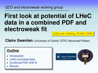 QCD and electroweak working group