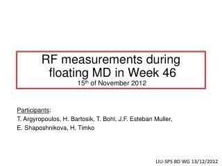 RF measurements during  floating MD in Week 46  15 th  of November 2012