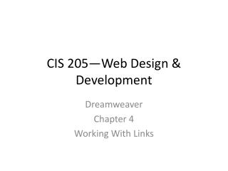 CIS 205—Web Design & Development