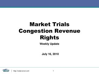 Market Trials Congestion Revenue Rights