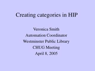 Creating categories in HIP