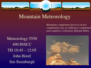 Mountain Meteorology