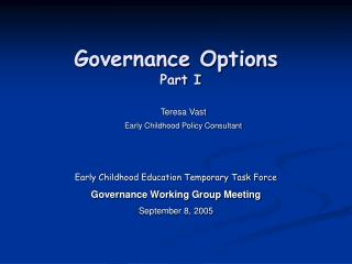 Governance Options  Part I