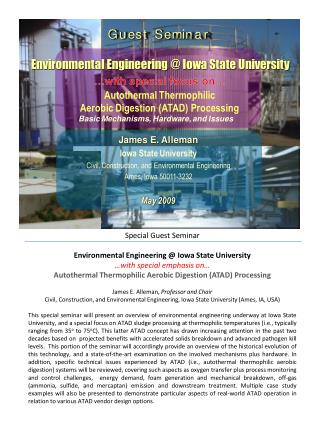 Special Guest Seminar Environmental Engineering @ Iowa State University …with special emphasis on…