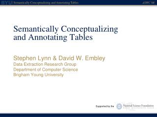 Semantically Conceptualizing and Annotating Tables