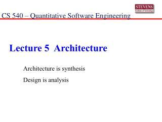 Lecture 5  Architecture
