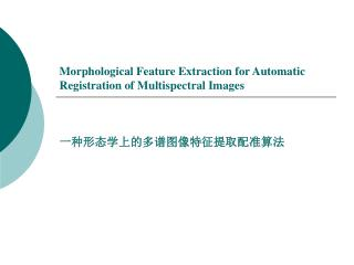 Morphological Feature Extraction for Automatic Registration of Multispectral Images
